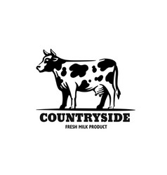cow in black with text country vector image