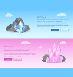 crystals and minerals among grey stones realistic vector image