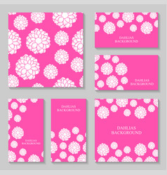 Dahlias flowers background set on pink background vector