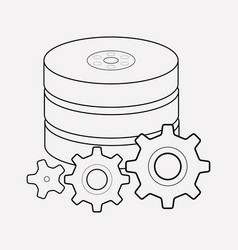 Data processing icon line element vector