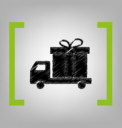 Delivery gift sign black scribble icon in vector