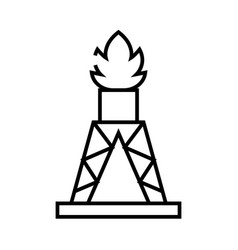 drilling rig line icon concept sign outline vector image