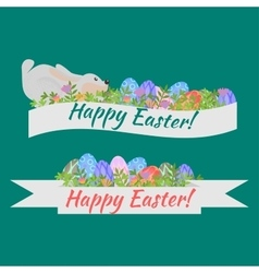 Easter holiday card with colorful eggs flowers vector image