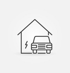electric car near house icon in thin line vector image