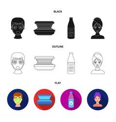 Face mask solarium bottle ts lasenom pimples on vector