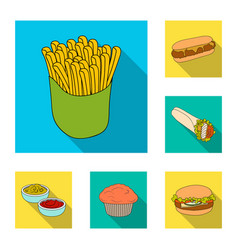 Fast food flat icons in set collection for design vector