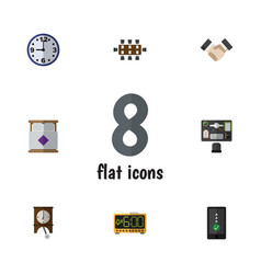 Flat icon oneday set of cellphone watch mattress vector
