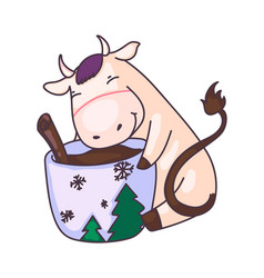 funny cow drinking hot chocolate from cup isolated vector image
