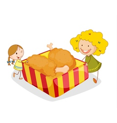 girl and chicken vector image