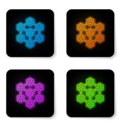glowing neon blockchain technology icon isolated vector image