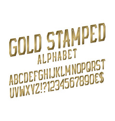 gold stamped alphabet witn numbers dollar and vector image