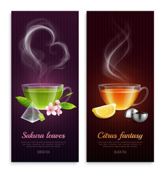 green and black tea banners vector image