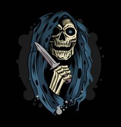 grim reaper death angel holding dagger knife vector image