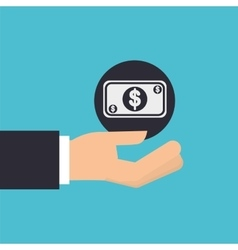 Hand holding bill cash money icon design isolated vector
