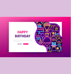 Happy birthday neon landing page vector