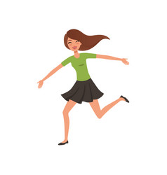 Happy brunette girl running jumping with wide open vector