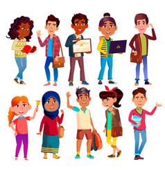 highschool pupils teenagers cartoon vector image