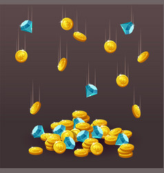 icons coins blue crystals gemstones gems vector image
