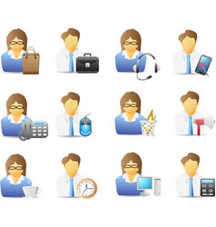 icons of office workers with office tools vector image vector image