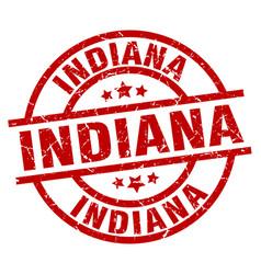 Indiana red round grunge stamp vector