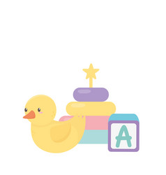 Kids zone alphabet block duck and stacking tower vector