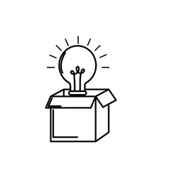 line open box with electric bulb light vector image