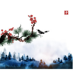 Little bird pine tree and sakura branches and vector