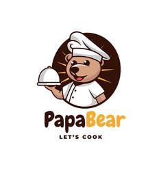 Logo papa bear simple mascot style vector