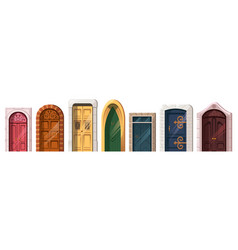 Medieval doors in stone arch for building facade vector