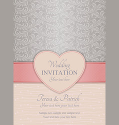 Modern wedding invitation pink and silver vector