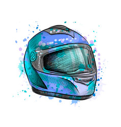 motorcycle helmet from a splash watercolor vector image