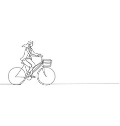One single line drawing young happy startup vector