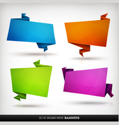 origami paper banners set vector image
