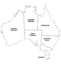Outline map states australia vector