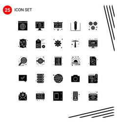Pack 25 modern solid glyphs signs and symbols vector