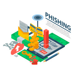 phishing attack concept background isometric vector image