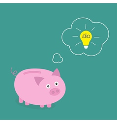 Piggy bank dream about idea light bulb Think bubbl vector image