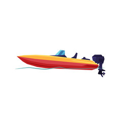 Power boat speedboat with outboard motor modern vector