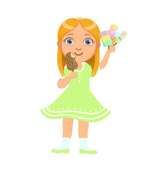 pretty baby girl kid holding ice cream a colorful vector image