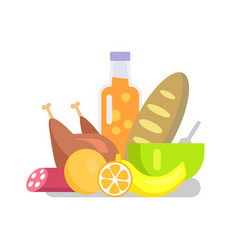 products fruits and meat set vector image