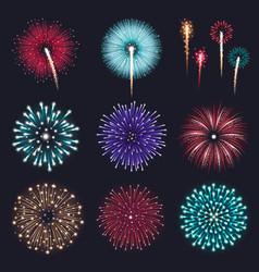 Realistic fireworks set vector