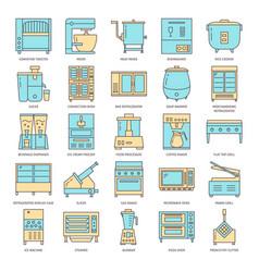 restaurant kitchen equipment icon set in line vector image