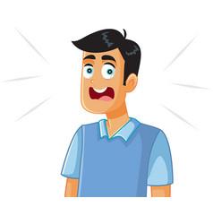 scared man cartoon vector image