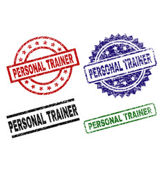 Scratched textured personal trainer stamp seals vector