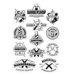 set barbershop logos signage vector image
