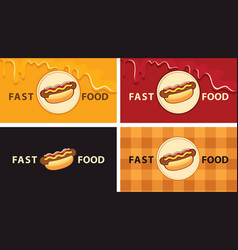 set business cards with a tasty hot dogs vector image