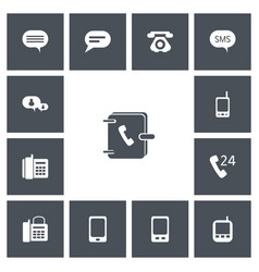 Set of 13 editable phone icons includes symbols vector