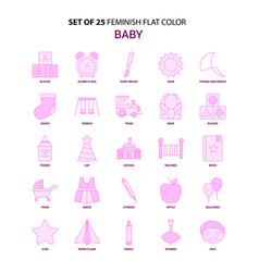 set of 25 feminish baby flat color pink icon set vector image