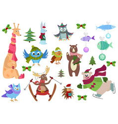set of adorable christmas winter animals and fish vector image