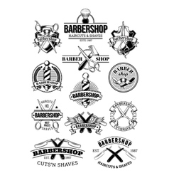 set of barbershop logos signage vector image